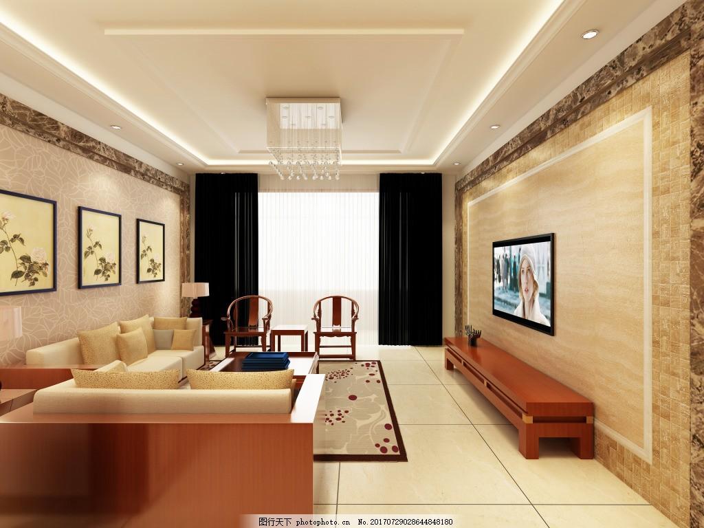 新中式简洁客厅效果图      影视墙 中式 新中式 背景墙 客厅家装效果