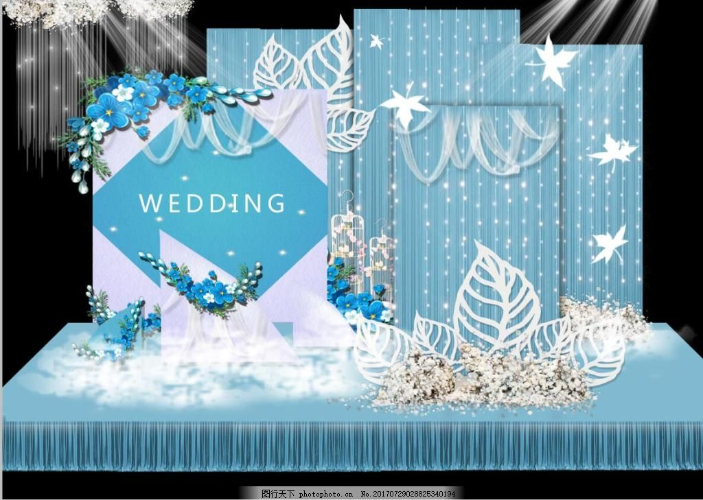 小清新蓝色婚礼舞台