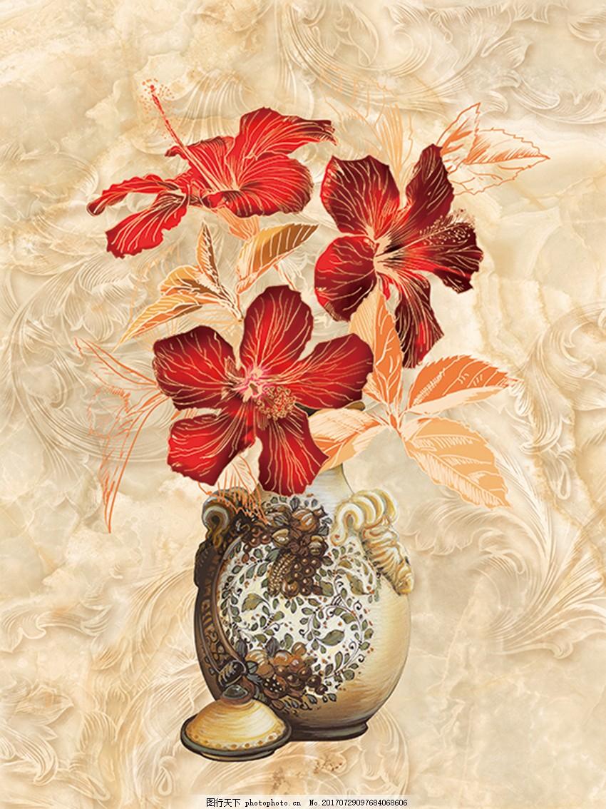 欧式花瓶大理石纹移门玄关装饰画背景墙 花纹