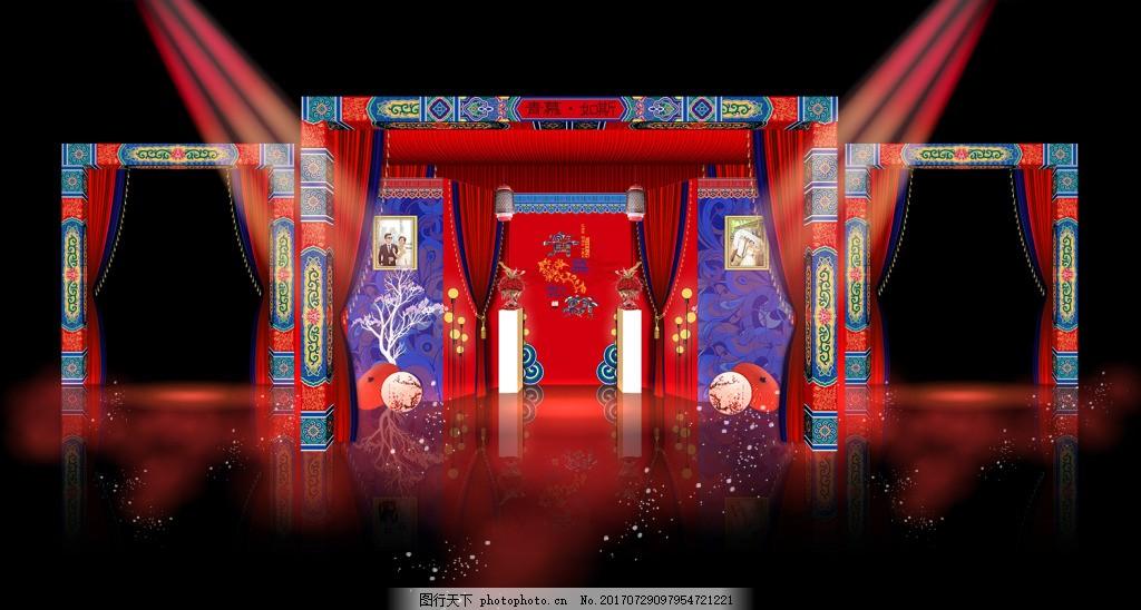 中式框架层次拉顶厅门婚礼整体展示效果图 中式婚礼 厅门框架 灯笼