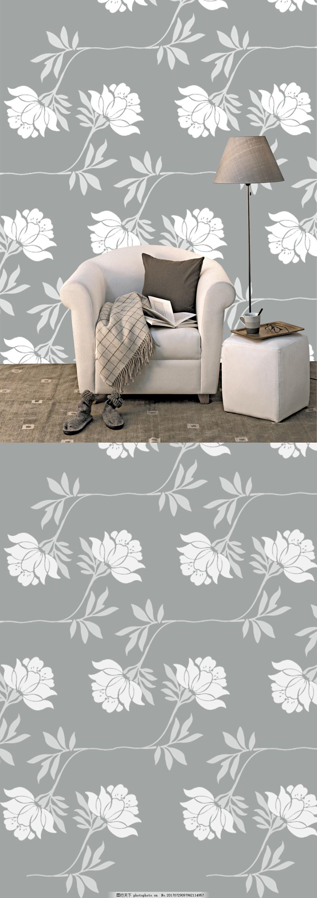 现代简约灰白大气沙发背景墙 米色 白色 淡雅线条 花纹 白色淡雅