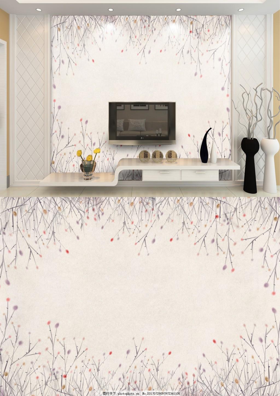 现代简约米色小清新花背景墙 白色 底纹 朵花纹 简洁 淡雅 客厅