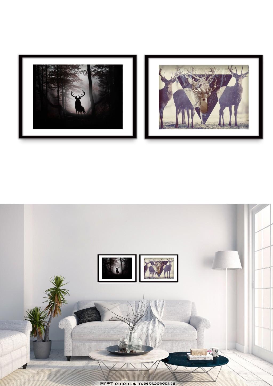 现代麋鹿黑白简约风景装饰画 双拼 客厅无框画 无框画图片 精品装饰画
