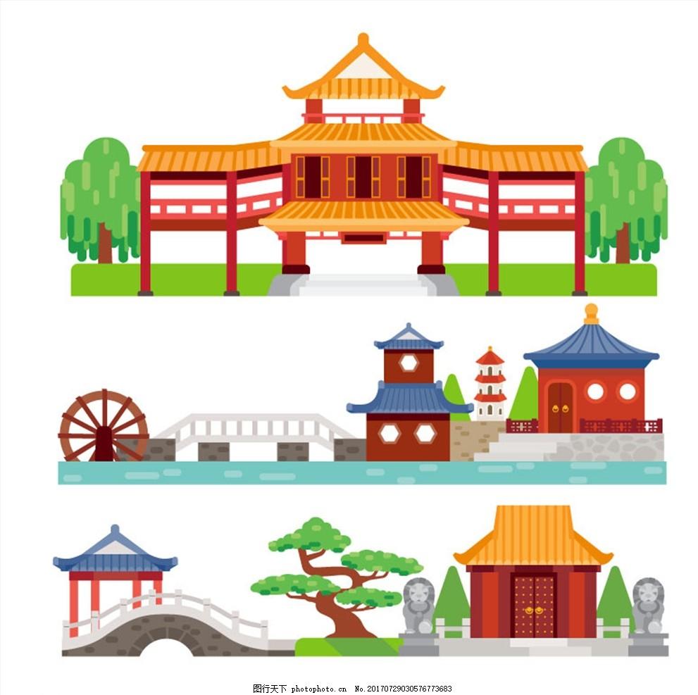卡通古建筑 中国古建 平面古建 红色古建 卡片 铜钱 仿古建筑 古建