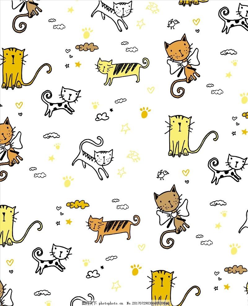 卡通猫四方连续底纹 服装设计 男装设计 女装设计 箱包印花 男装印花