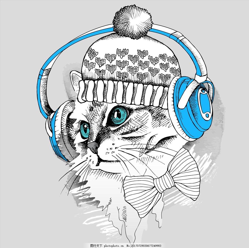 手绘卡通猫头矢量图下载 服装设计 男装设计 女装设计 箱包印花 男装印花 女装印花 童装印花 潮流服装印花 潮牌设计 面料印花 布料印花 贴纸图案 小动物 卡通动物 手绘动物 小猫 猫咪 卡通猫 可爱卡通猫 手绘猫 帽子 耳机 蝴蝶结 毛绒球 毛线帽子 矢量图案共享 设计 广告设计 服装设计 AI