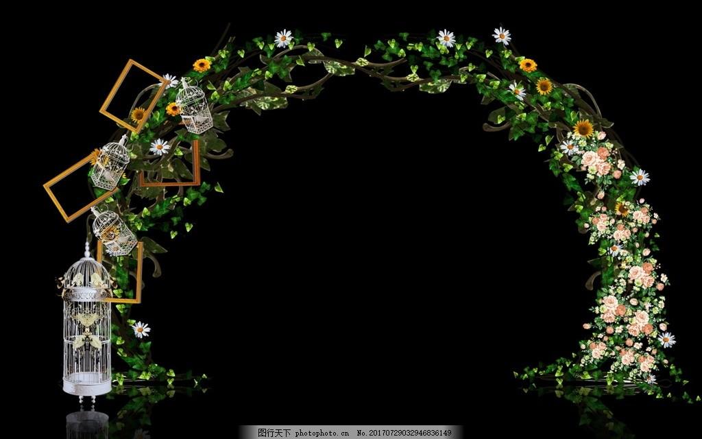 森林拱门 鸟笼 相框 花草 叶子 藤条 木桩 设计 psd分层素材 背景素材图片