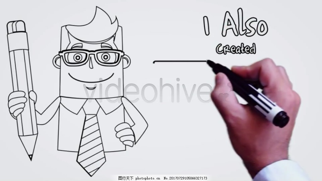 油性签字笔手写字动画 卡通 动态 视频模板 展示 高清视频模板