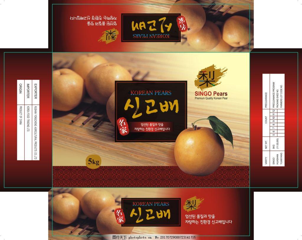 韩国梨箱子包装设计 包装箱 南水梨 矢量 盒子