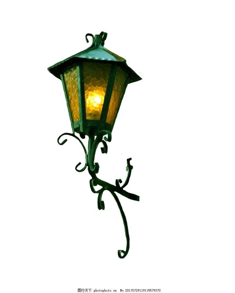 欧式复古路灯元素 绿色路灯 欧式花纹 免抠 黄色灯光