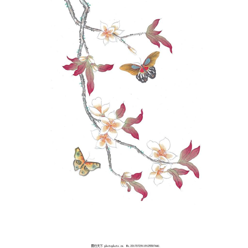 蝶恋花png免扣元素 花朵 花枝 蝴蝶 手绘 素雅 透明