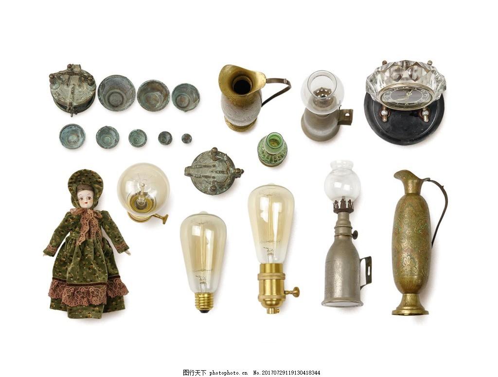中国风复古古董png免扣元素 煤油灯 碗 茶壶 透明