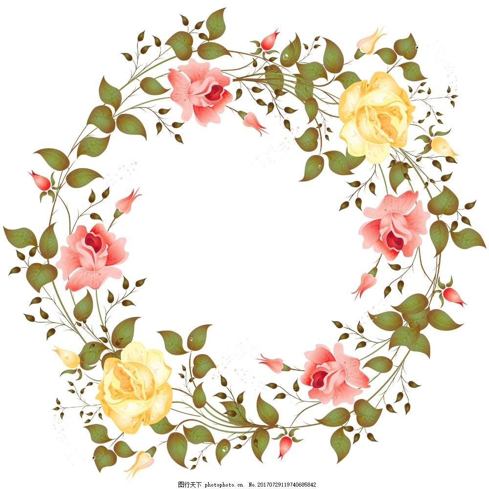 手绘简约花环元素 手绘 绿叶 藤蔓 彩色花朵 花环 png 免抠 素材 png