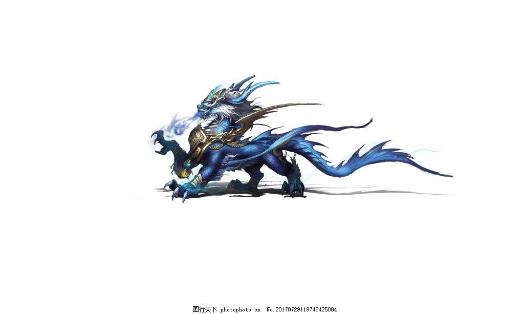 手绘蓝色怪兽元素 蓝色花纹 气势 气场 免抠