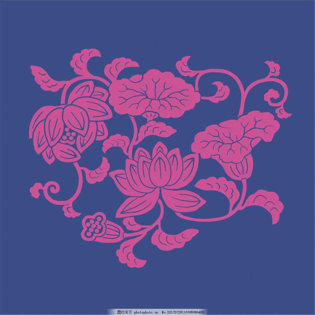 蓝色花纹无缝背景图
