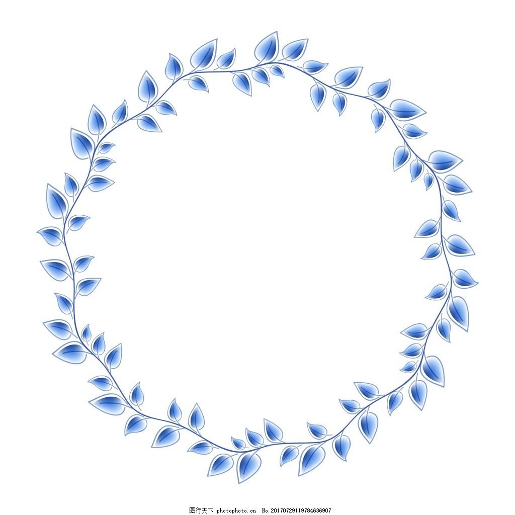青花瓷树叶枝丫中国风典雅花型设计 背景 底纹花纹图案 矢量图 源文件