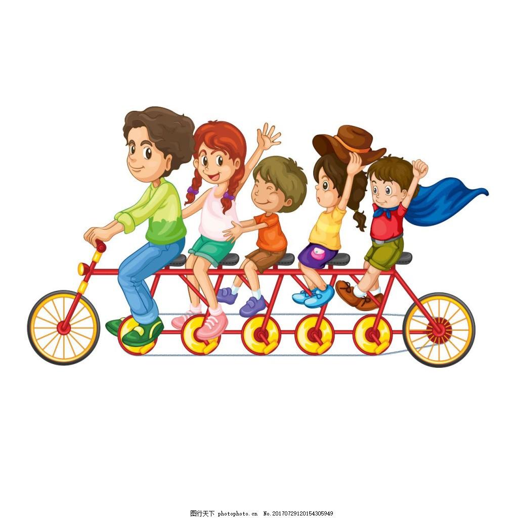 骑自行车出游的一家人png免扣元素 旅行 旅游 透明