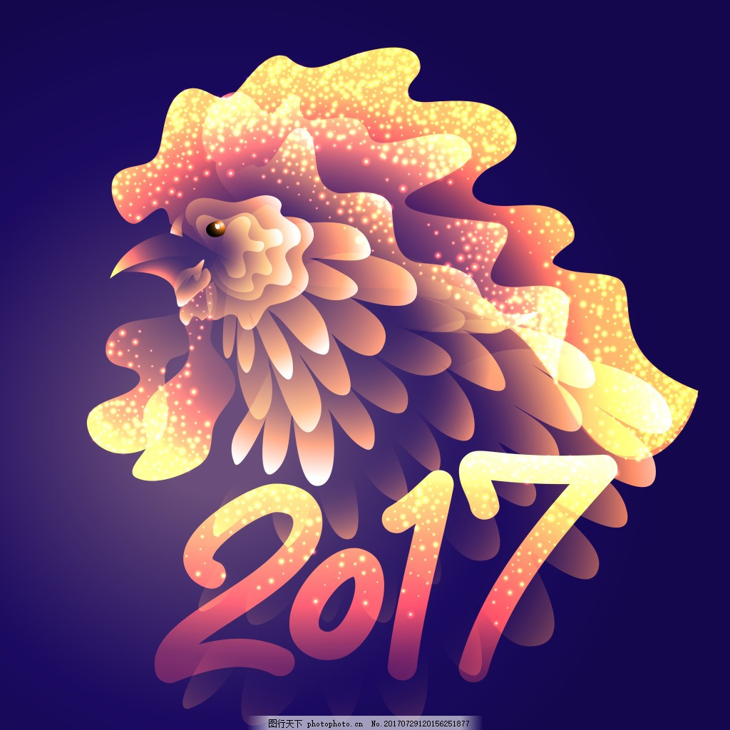 金色创意公鸡2017年新年卡片设计矢量 发光 节日图标