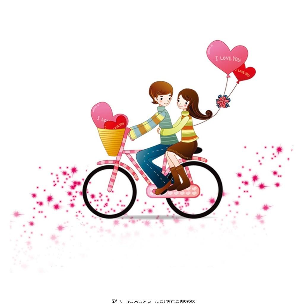 卡通情侣png免扣元素 浪漫情侣 自行车 红心 情人节 七夕-影子 骑自行图片