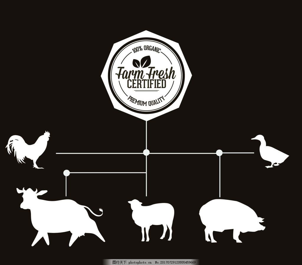 黑白矢量设计图案 动物 公鸡 源文件 平面设计素材 创意设计