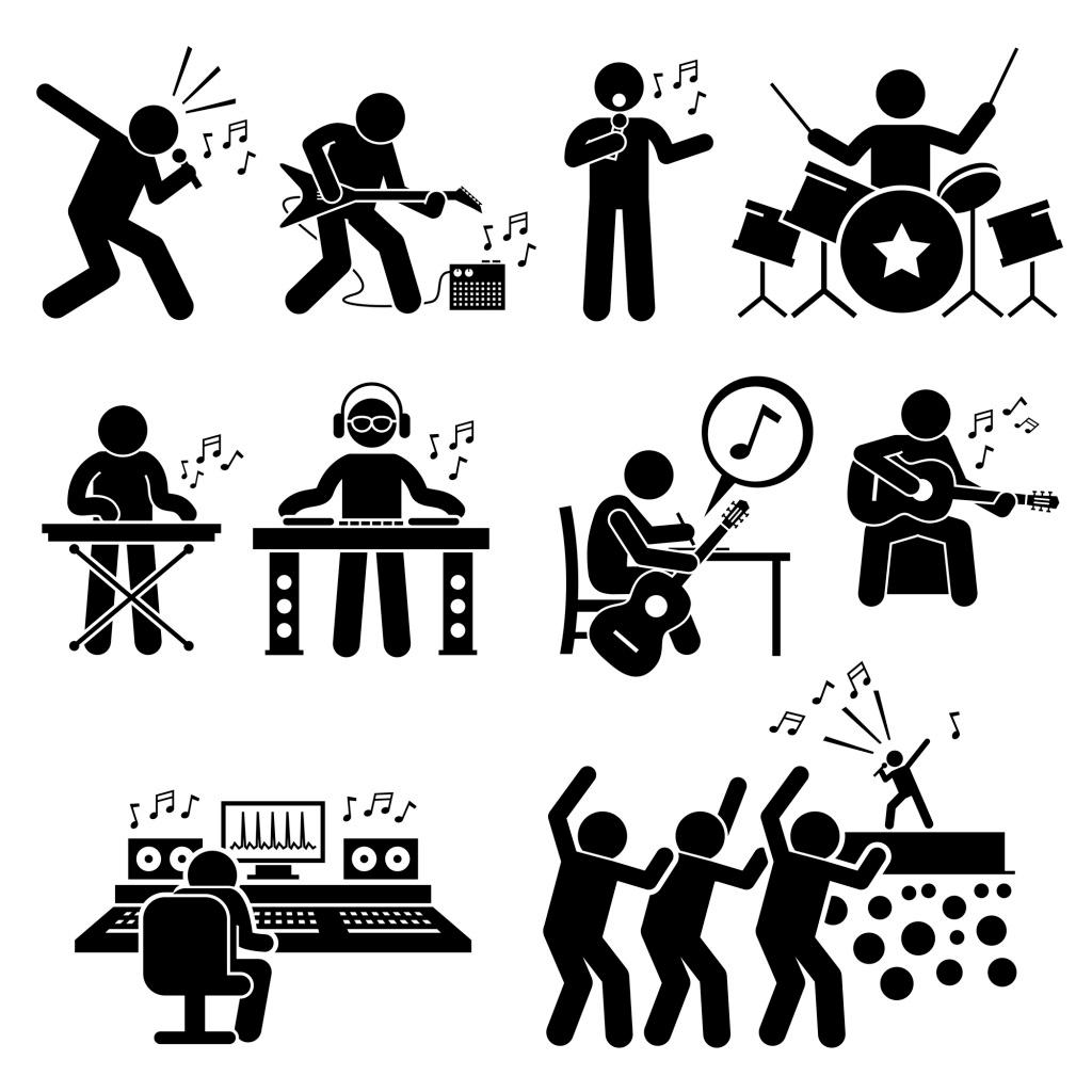 经典黑白圆头小人解说演唱会,音符 架子鼓 矢量 源-图