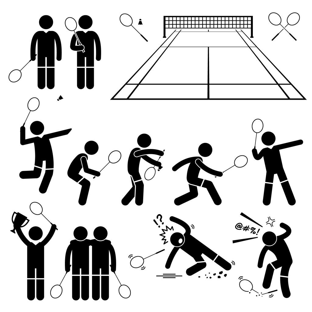 经典黑白圆头小人球拍 动作 运动 矢量 源文件 下载图案 装饰图案