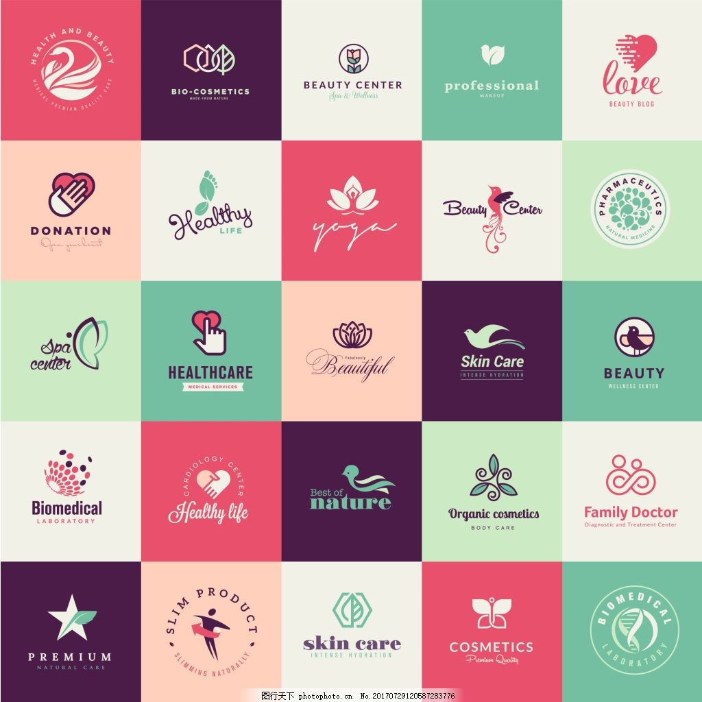 五角星环保企业餐饮行业logo标志徽章 飞禽 鸟类 矢量 下载素材