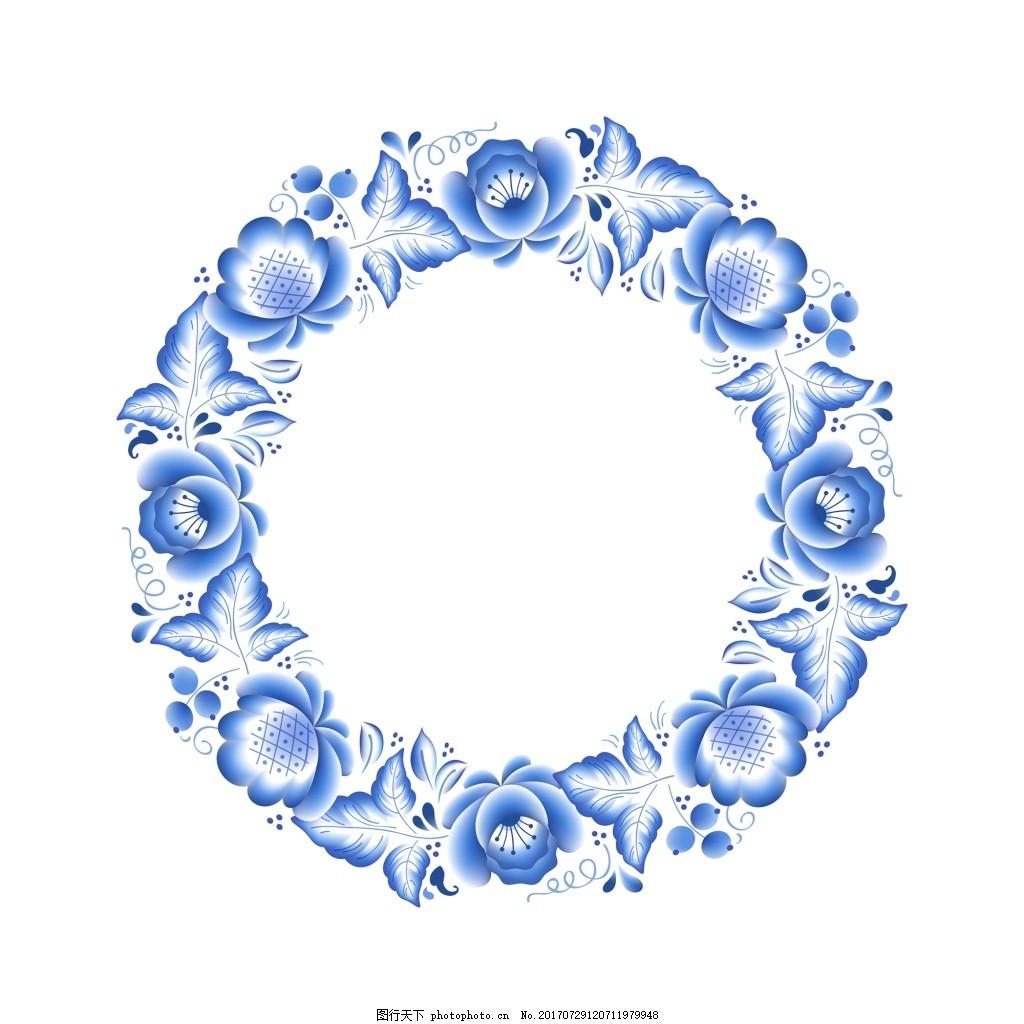 怒放的青花瓷中国风典雅花型设计图片