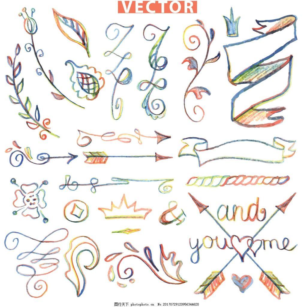 手绘水彩小清新飘带矢量素材 箭头 交叉 爱心 花纹 橄榄枝 矢量 素材