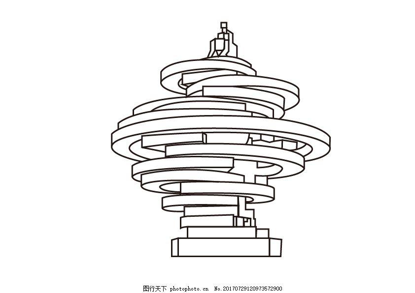 五月的风线稿 线描 青岛 建筑 雕塑