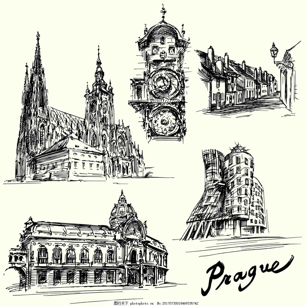 钢笔手绘建筑插画 黑白 铅笔 复古 欧洲 城堡