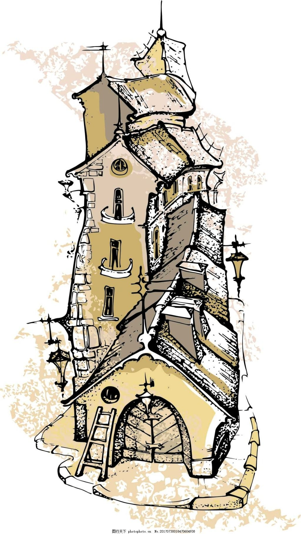 复古手绘建筑插画 房子 创意 复古 手绘 水彩绘 城市 建筑 古老 插画