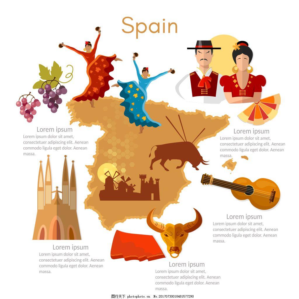西班牙创意特色旅行插画 人物 舞蹈 葡萄酒 建筑 美食 音乐