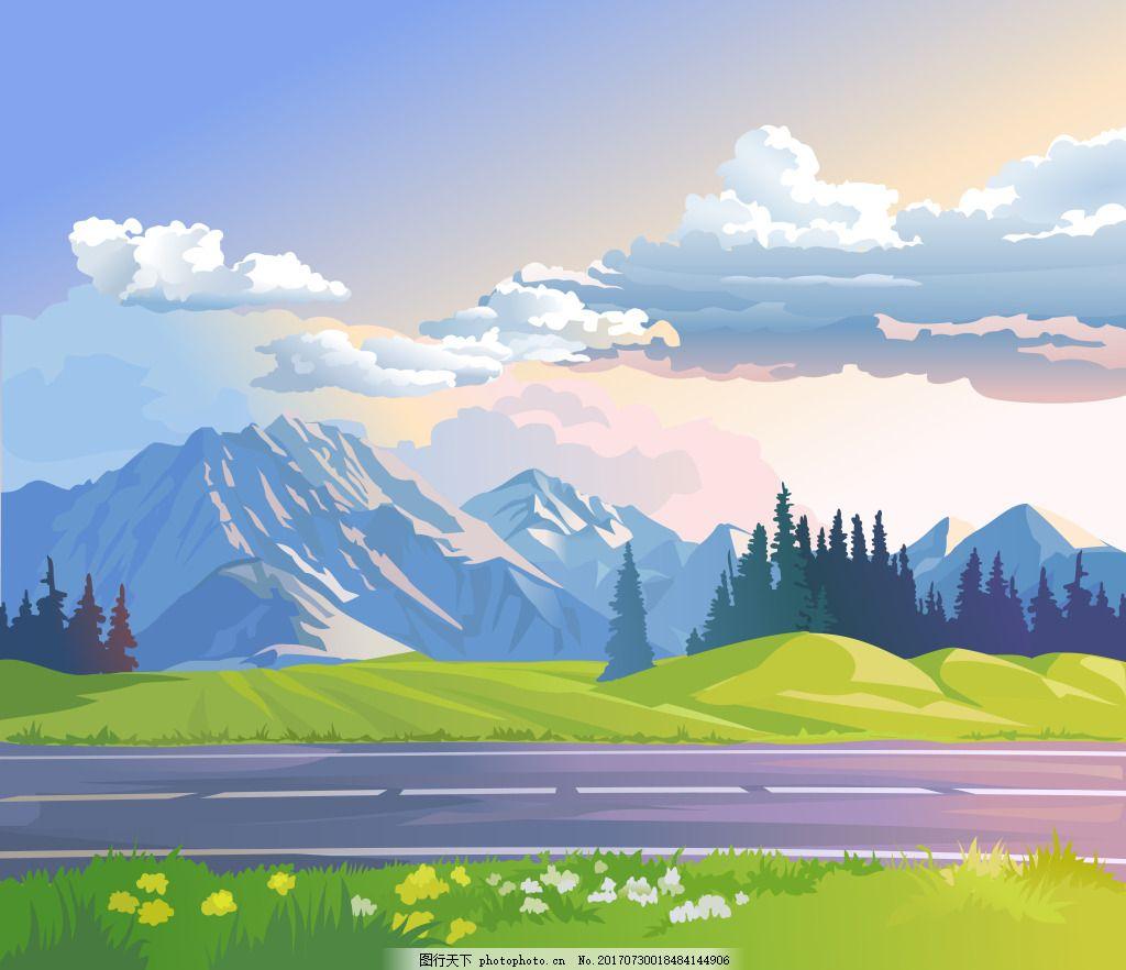 卡通手绘乡野户外风景