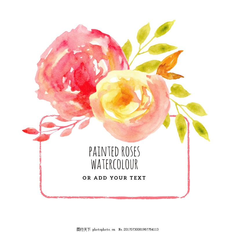 水彩玫瑰花框架矢量 手绘 植物 水彩绘 玫瑰 玫瑰花 框架 矢量 插画