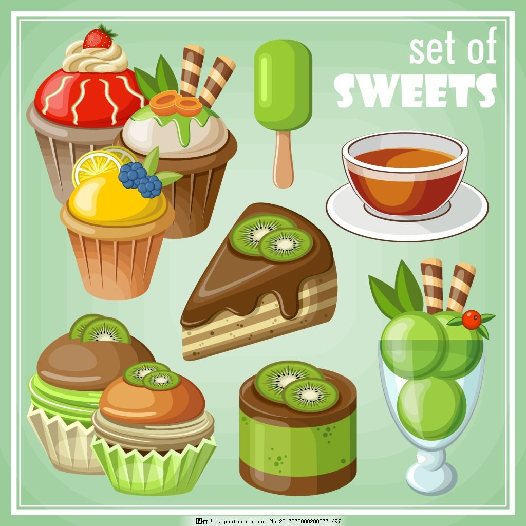 猕猴桃甜品插画 蛋糕 冰淇淋 水果 美味 下午茶 三角蛋糕