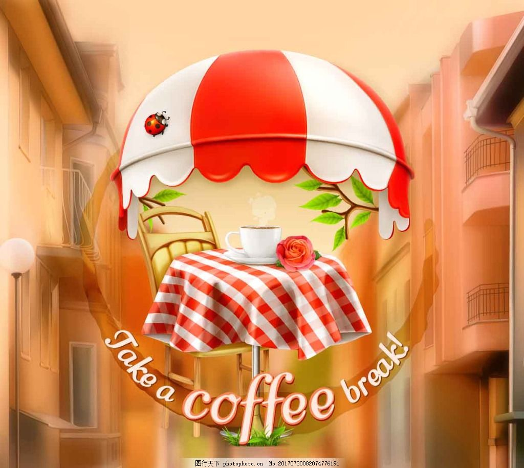 浪漫时尚的下午茶插画 咖啡 朦胧 花朵 唯美
