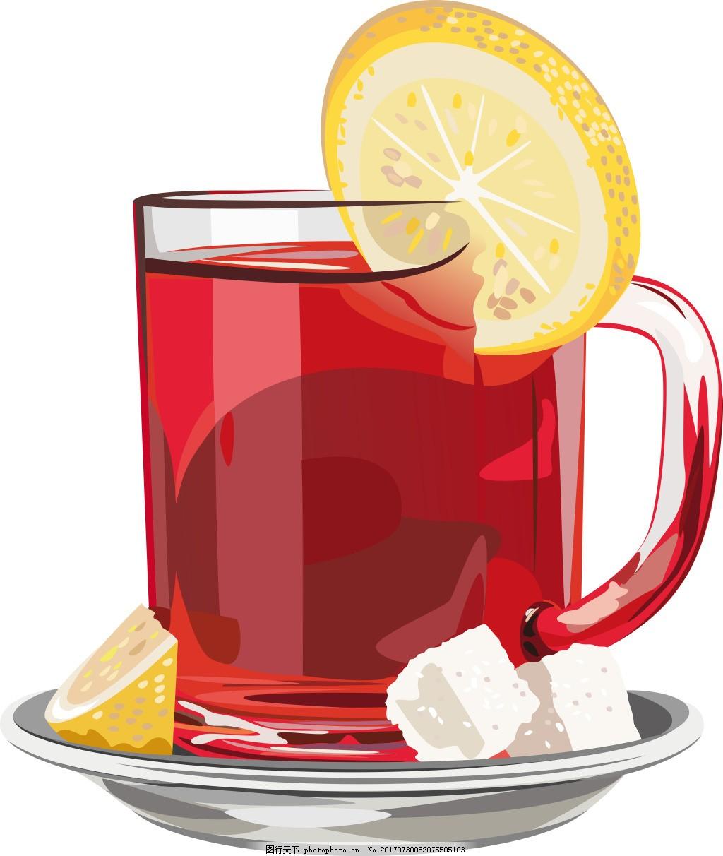 美味的柠檬红茶插画 方糖 水果 下午茶 矢量