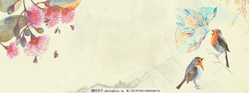 鸟语花香电商banner背景 背景图 唯美背景 淘宝海报 背景素材