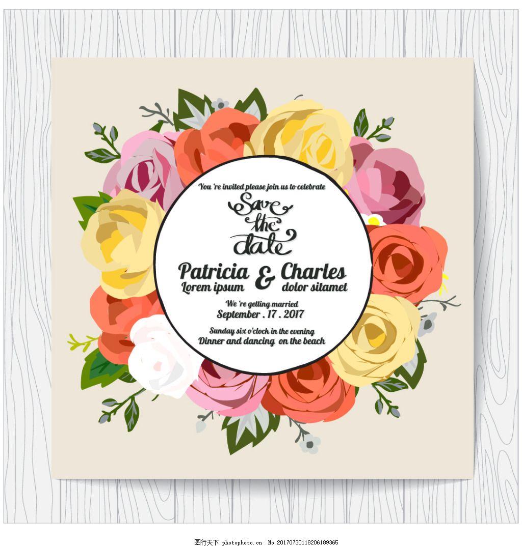 手绘彩色玫瑰花背景 木纹 背景 底纹 手绘 彩色 玫瑰花 植物 浪漫