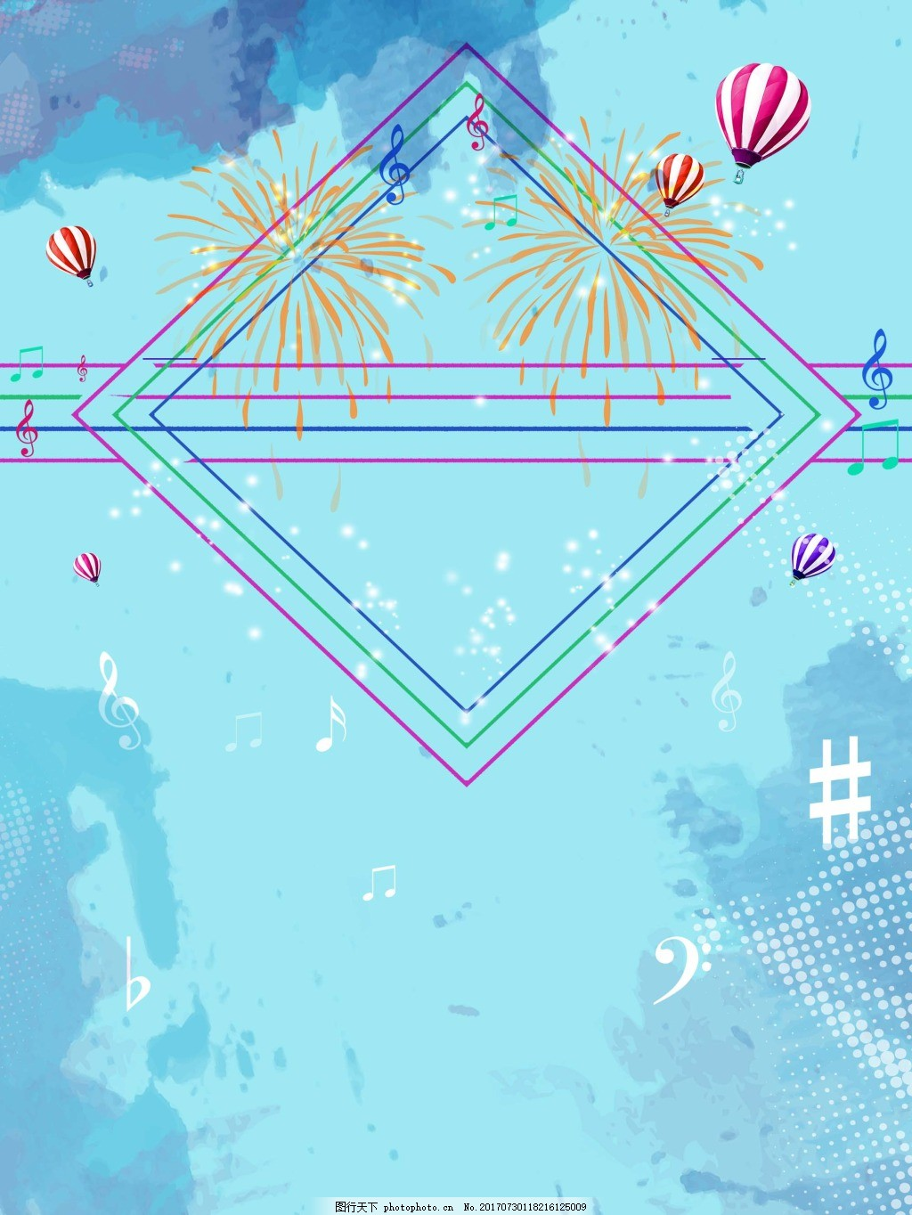 彩色线条几何背景 条纹 热气球 天空 音符 蓝色背景