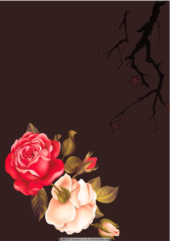 浪漫粉色红色月季背景 唯美 玫瑰 要 褐色海报 树枝