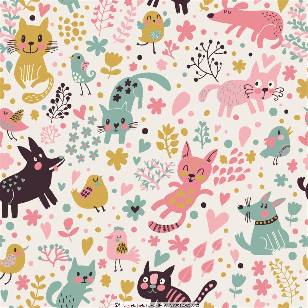 彩绘卡通动物花朵背景图