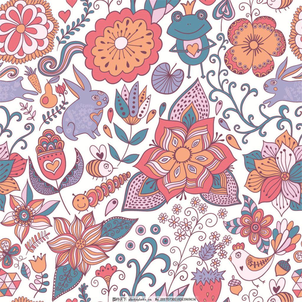 手绘彩色花朵小动物无缝背景图