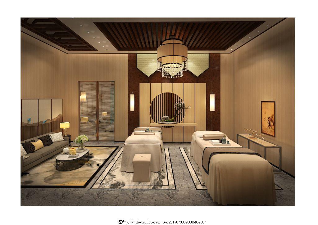 双人间美容会所工装设计效果图 新 中式 工装效果图 美容会所设计效果图