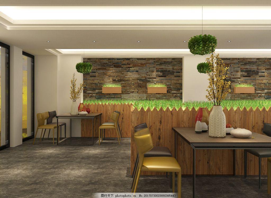 中岛造型原木吧台散台区背景墙绿植 原木造型 绿植造型 背景墙石材