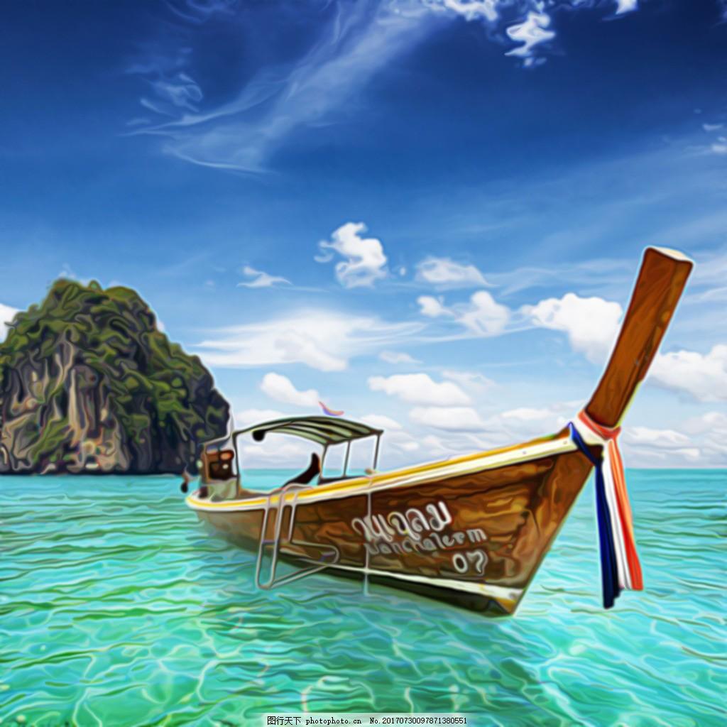 海上风景油画装饰画素材 蓝天 大海 白云 山 小船