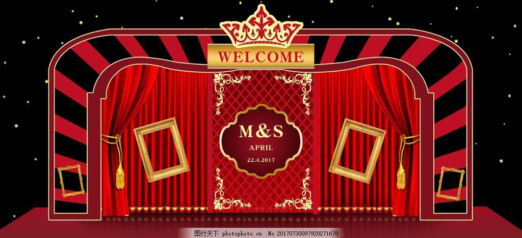 婚庆主题黑红花皇冠喜庆婚礼背景 时尚 浪漫 大气 黑红系列婚礼主题背景