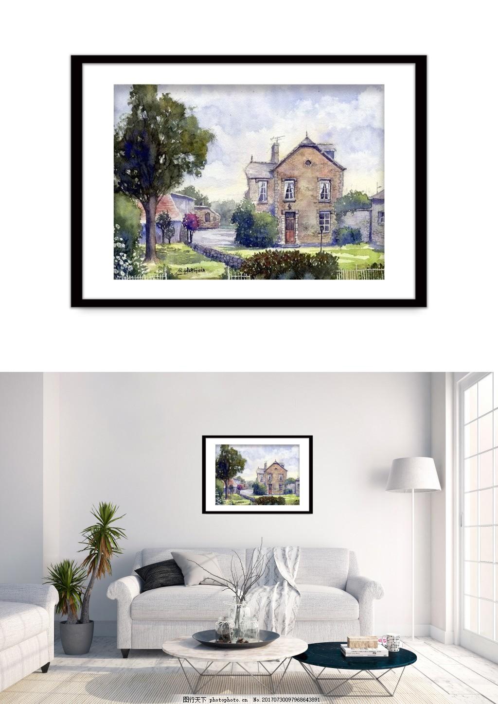 现代水彩风景装饰画 双拼 客厅无框画 无框画图片 精品装饰画 水果装饰画