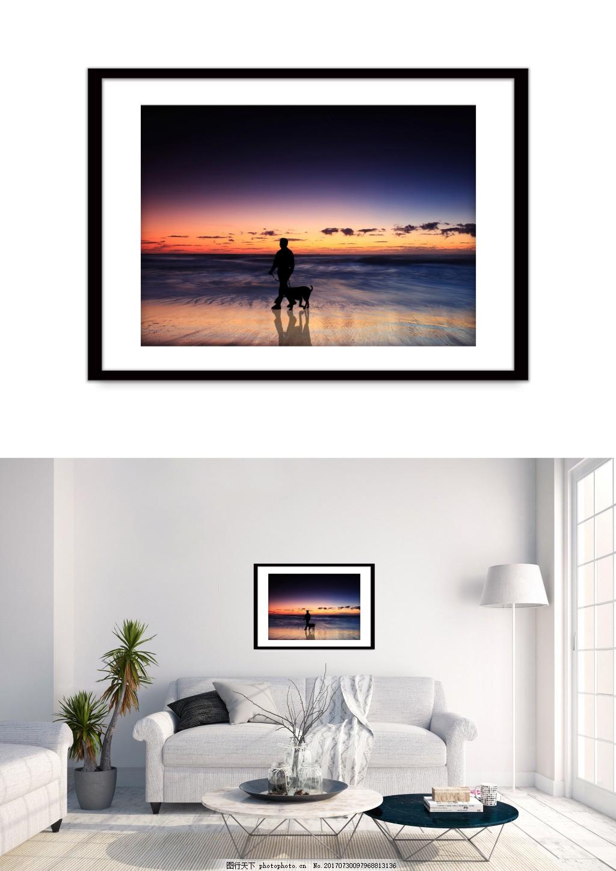 现代夕阳人物剪影海边风景装饰画 夜景 双拼 客厅无框画 无框画图片